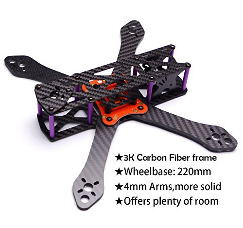 Readytosky 220mm FPV Racing Drone Frame for Martian II Carbon Fiber Quadcopter Frame Kit 4mm Arms with Power Distribution Board 5030 propellersbattery strap